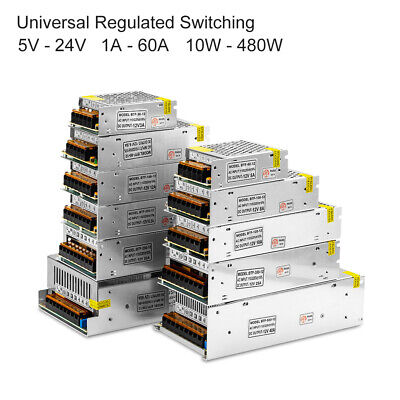 Universal 5V-24V DC 1A-60A Regulated Switching Power LED Strip Lights Supply New