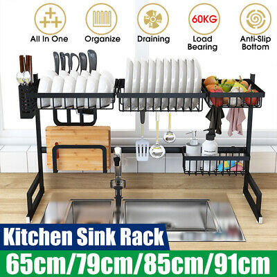 Large Sink Dish Drying Rack Holder Drainer Stainless Steel Kitchen Cutlery Shelf