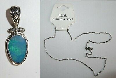 925 Marked Silver Opal Pendant with free Stainless Steel Chain