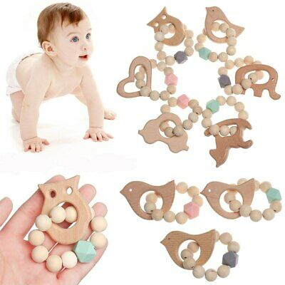 Baby Silicone Beads Bracelets Wooden Teether Rattles Toys Shower Sensory Toys