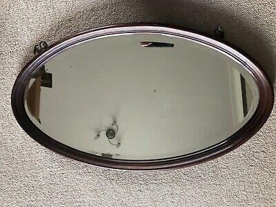 Antique Victorian Oval Wood Framed Bevelled Mirror with Chain