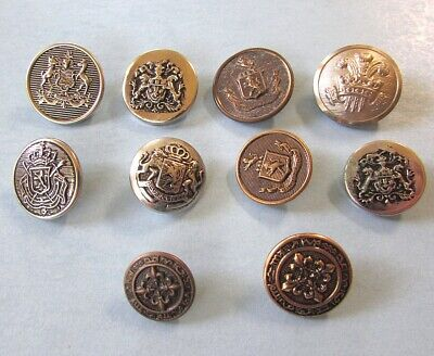 10 Uniform Military BUTTON Family Crest Coat of Arms Seal Prince Wales Vintage