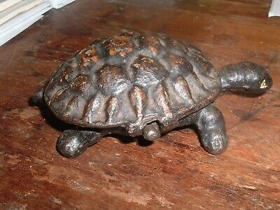 Antique 19th Century / late 1800s  Figural Turtle Match Holder or Trinket Box