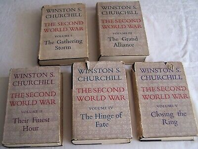Winston Churchill:The Second World War Vol 1-5 Cassell All First Editions DJs