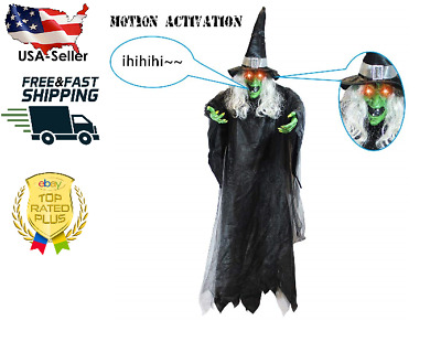 JOYIN Life Size Hanging Creepy Animated Witch for Halloween Decorations