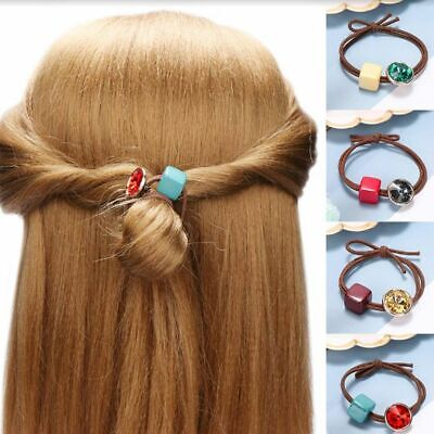 Crystal Block Candy Color Hair Rope Girl Women Holder Elastic Fashion Hair tie