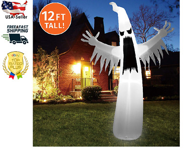 12 FT Inflatable Towering Terrible Spooky Ghost with Build-in LEDs Blow Up