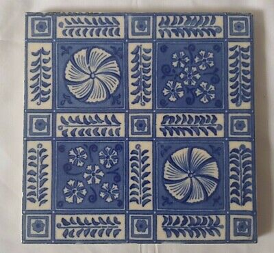 STRIKING MINTON 19TH CENTURY arts & crafts BLUE & WHITE 6 INCH TILE 6 AVAILABLE