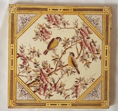 Gorgeous English Bird Design 6 Inch 19Th Century Tile