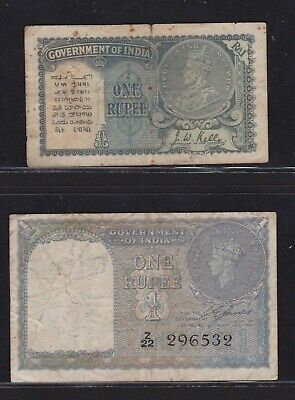 Lot Of Two India 1-Rupee Banknotes 1935  And 1940    Scarce!