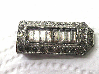 Antique Pot Metal Small Crystal Clip - Very Old Shoe or Dress Clip