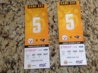 1 Unused Pittsburgh Steelers vs Baltimore Ravens Ticket Stub Oct. 6, 2019