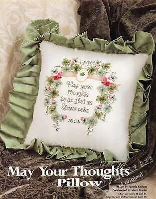 Cross Stitch Pattern~May Your Thoughts Pillow~Lucky Shamrock~CS165