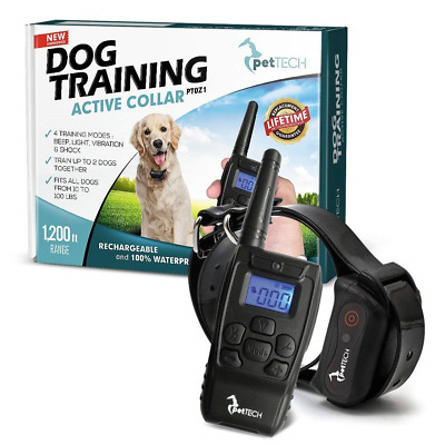 PetTech Remote Controlled Dog Training Collar Rechargeable Waterproof All Size …