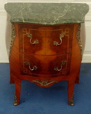 French Louis Xv Style Painted Marble Top Side Table With Brass Accents