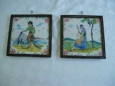 Vtg Antique Hand Painted Tiles~Set of 2~Woman w/Spool~Man w/Net~Framed~Square