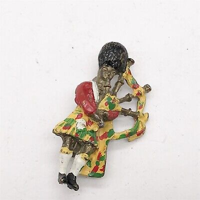 Vintage Ladies Costume Jewellery Enamel Scottish Bagpipe Scots Guard Pin Brooch