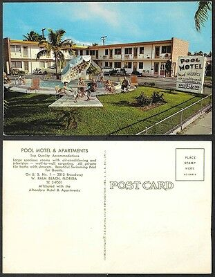 Old Florida Postcard - West Palm Beach - Pool Motel and Apartments