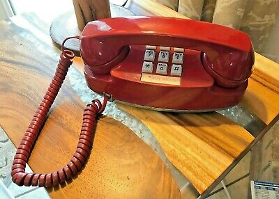 Vtg Western Electric Bell System Red Princess Phone w/Push Buttons