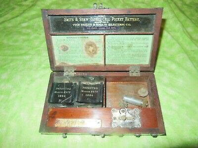 Antique Quack Box   1884 Smith & Shaw   Grandfather Of All TENS Machines!