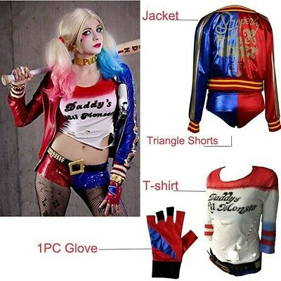 US Suicide Squad Harley Quinn Cosplay Costume T-shirt Coat Jacket Accessory Set