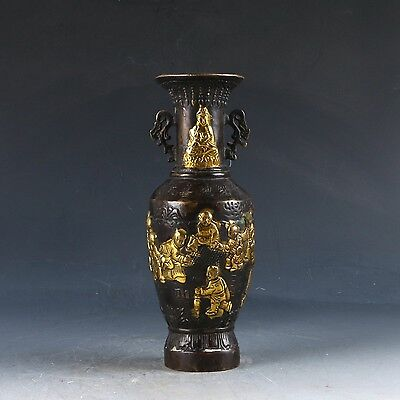 Chinese Copper Gilt Hand Carved Kwan-yin & Kids Vase Ming Dynasty Xuande Mark