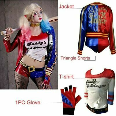 Cosplay Costume Full Set Suicide Squad Harley Quinn T-Shirt Glove Jacket Shorts