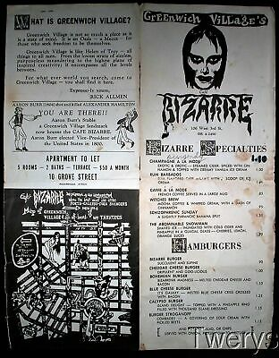 Rick Allman's Cafe Bizarre Greenwich Village New York Vintage Menu