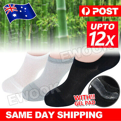 Bamboo Non-slip Heel Grip Low Cut No Show Socks Footlets Invisible Women Mens OZ