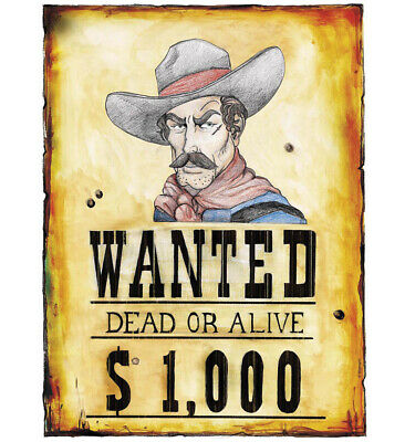 COWBOY WANTED POSTER 38X50cm for American Wild West & Indians