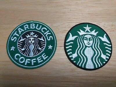 x2 Embroidered iron-on patch Set The Starbucks Coffee Logo Mermaid 2 Style