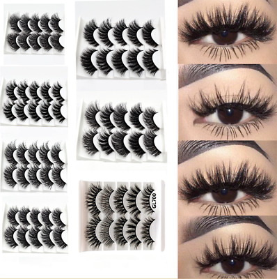 Pair 3D Mink False Eyelashes Wispy Cross Long Thick Soft Fake Eye Lashes UK