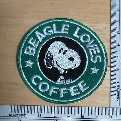 Embroidered iron-on patch The Starbucks Coffee Logo Snoopy Beable Lover Dog