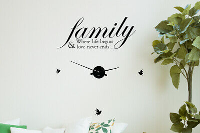 Walplus Family Life Quote Wall Clock DIY Wall Art Room Home Hotel Decoration