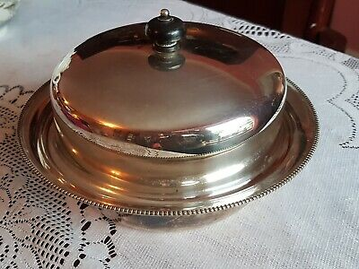 Vintage HARRODS round EPNS Warming & Serving Dish with lid. Silver Plate.
