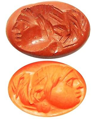 1st century A.D. Ancient Roman Jasper Intaglio of a Head / Magical Gryllos Gem