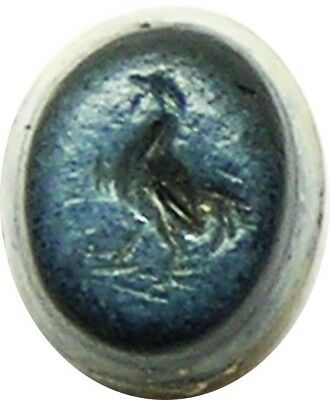 1st - 2nd century A.D. Ancient Roman Nicolo Gem Intaglio of a Cockerel / Rooster