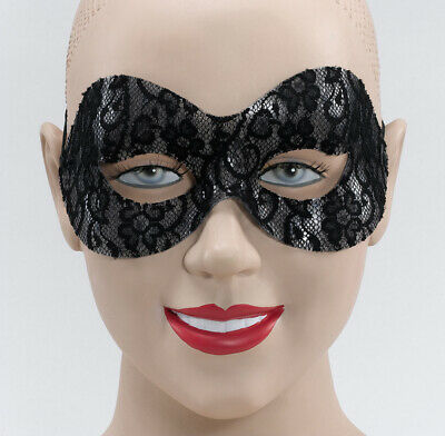 LACE DOMINO CAT MASK MASQUERADE BALL MASK FANCY DRESS ACCESSORY