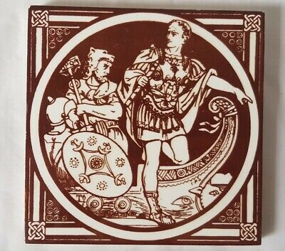 Moyr-Smith Minton 6 Inch 19Th Century Knight Narrative Tile The Romans