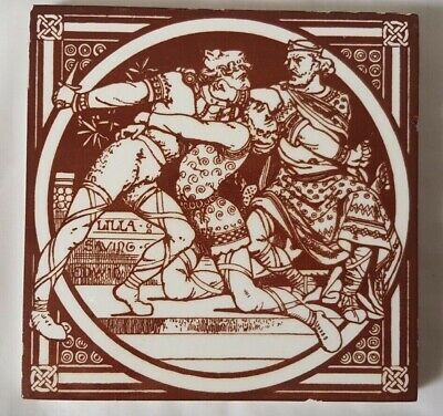 Moyr-Smith Minton 6 Inch 19Th Century 'Lilla Saving Edwin' Narrative Tile