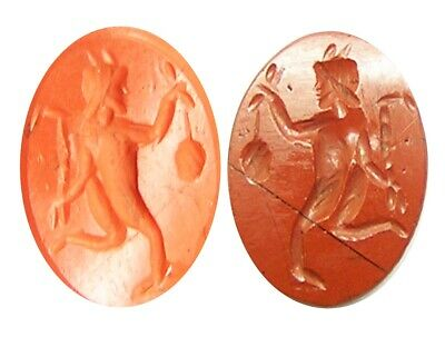 1st - 2nd century A.D. ancient Roman red jasper intaglio of a running Faun