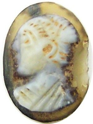 3rd century A.D. Excavated Roman Hardstone Agate Cameo Male Head Gold Ring Stone