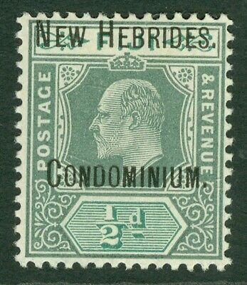 SG 4 New Hebrides ½d green & grey green WMK crown. Fine unmounted mint CAT £60