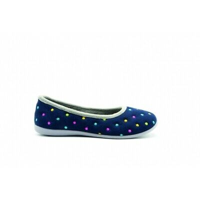 Padders BALLERINA Ladies Womens Felt Wide (E Fit) Ballet Slippers Navy Combi