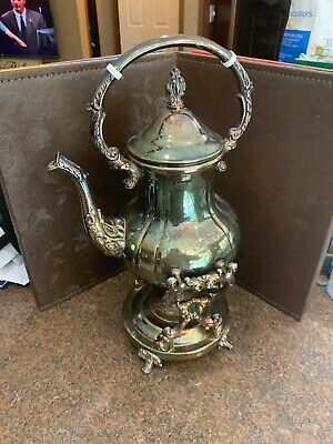 """Vintage Leonard Silverplate Teapot On Serving Stand W/ Warmer 14 1/2"""" Tall Over"""