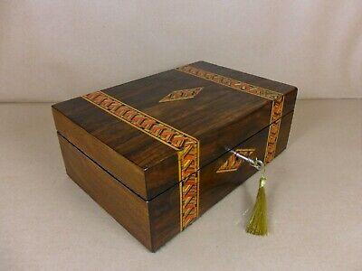 ANTIQUE VICTORIAN  PARQUETRY WALNUT JEWELLERY/SEWING  BOX.C1860-1880 (Code 526)