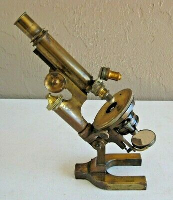 Antique Bausch & Lomb Optical Microscope Solid Brass 3 Objectives SN 13072