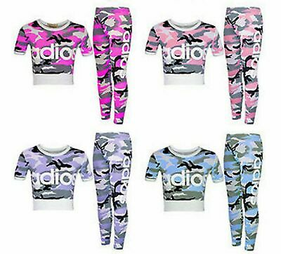Girls Kids Adios Camouflage Tracksuit Children's Crop Top Leggings Set Age 5-13