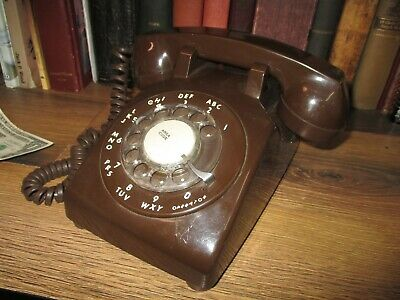 Rotary Dial Desk Telephone Phone Brown Retro Itt Western Electric Pastel 1983