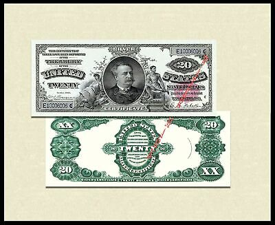 Note US Paper Money Currency Copy Reproduction $20 1891 Red Seal Silver Cert